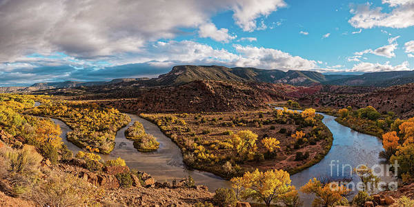 Land Of Enchantment Photograph - Golden Hour Panorama Of Rio Chama Valley In Abiquiu - Rio Arriba County New Mexico by Silvio Ligutti