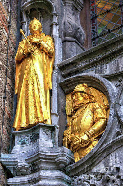 In Bruges Photograph - Golden In Bruges At Burg Square by John Rizzuto