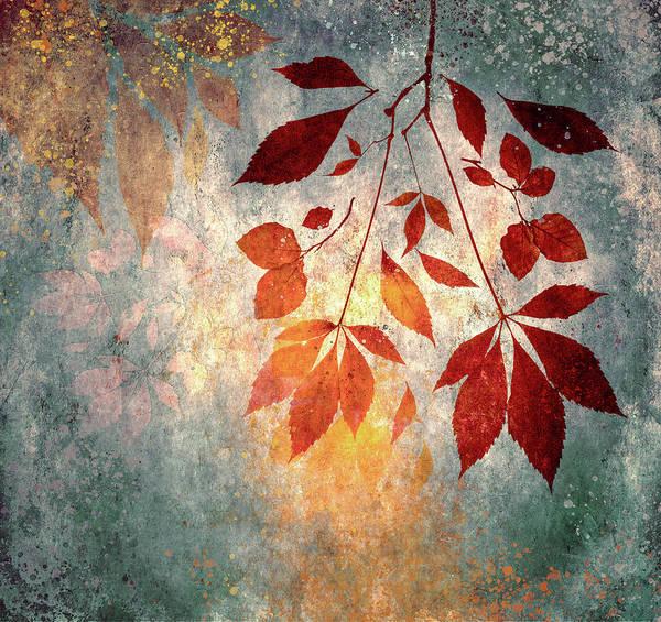 Digital Art - Golden Leaf Fall by Glenys Garnett