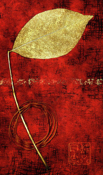 Wall Art - Mixed Media - Golden Leaf On Bright Red Paper by Carol Leigh