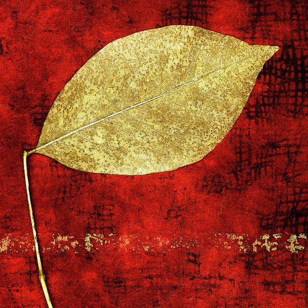 Wall Art - Mixed Media - Golden Leaf On Bright Red Paper Square by Carol Leigh