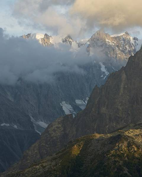 Photograph - Golden Light Catches The Peak Of Grandes Jorasses by Stephen Taylor