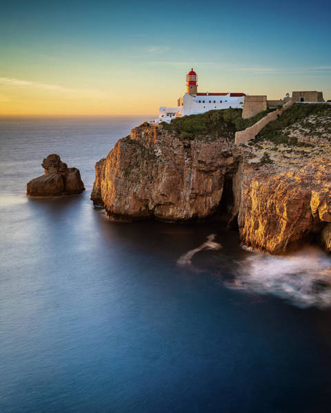 Photograph - Golden Light Over Cape Saint Vincent - Vertical by Michael Blanchette