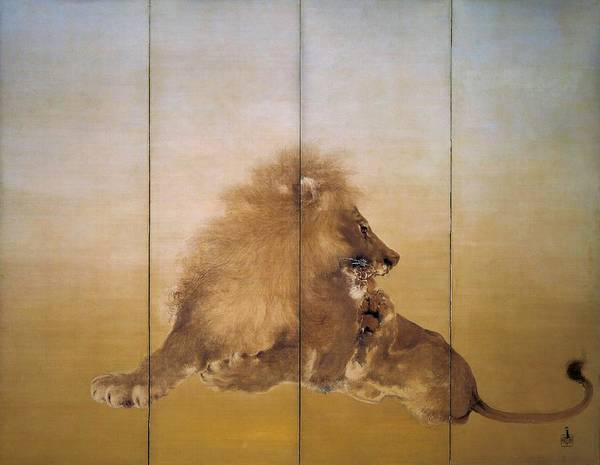 Wall Art - Painting - Golden Lion - Original Color Edition by Takeuchi Seiho