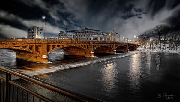 Photograph - Golden Pearl Street Bridge Grand Rapids by Evie Carrier