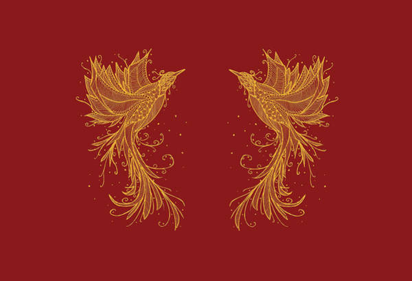 Mixed Media - Golden Phoenix Twins On Red by ZeichenbloQ