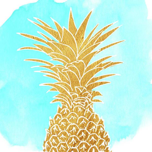 Pineapple Digital Art - Golden Pineapple by Mihaela Pater
