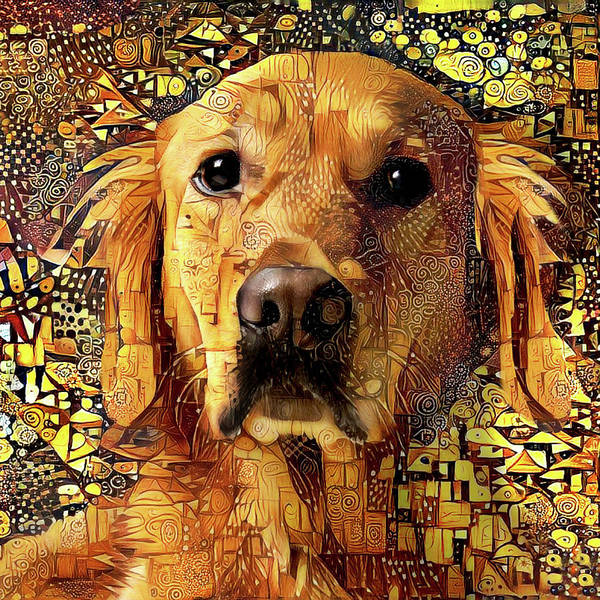 Digital Art - Golden Retriever Dog Abstract Art by Peggy Collins