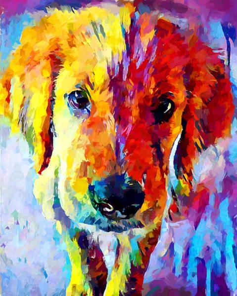 Wall Art - Painting - Golden Retriever Puppy by Chris Butler