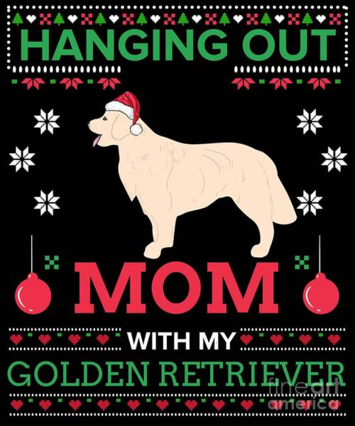 Ugly Digital Art - Golden Retriever Ugly Christmas Sweater Xmas Gift by TeeQueen2603