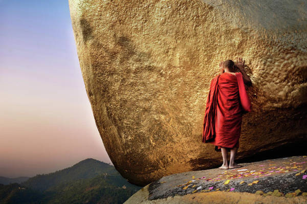 Shaved Head Photograph - Golden Rock by David Lazar