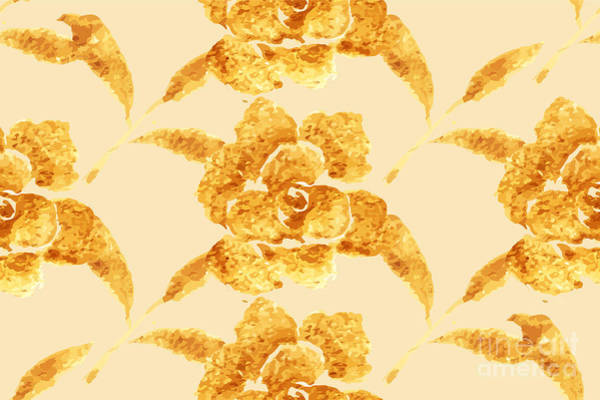 Wall Art - Digital Art - Golden Rose, Hand-drawn Flower, Floral by Rasveta
