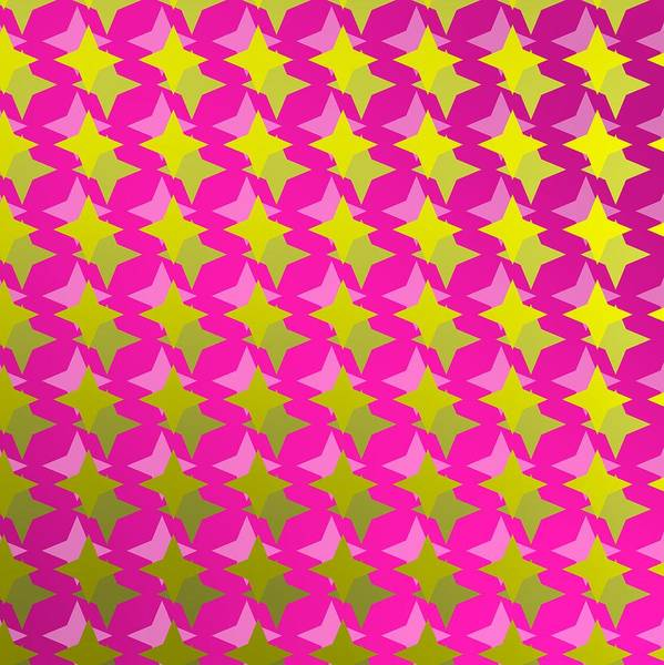 Digital Art - Golden Stars Over Purple Backlight by Alberto RuiZ