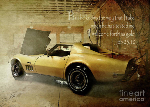 Wall Art - Digital Art - Golden Stingray - Verse by Anita Faye