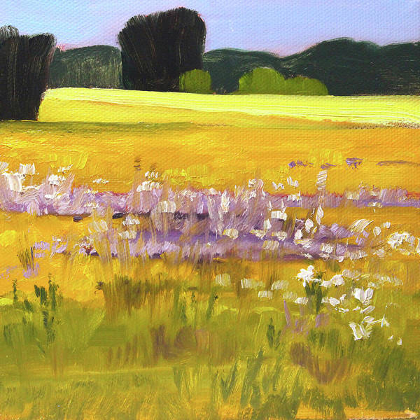Semi Abstract Painting - Golden Summer by Nancy Merkle