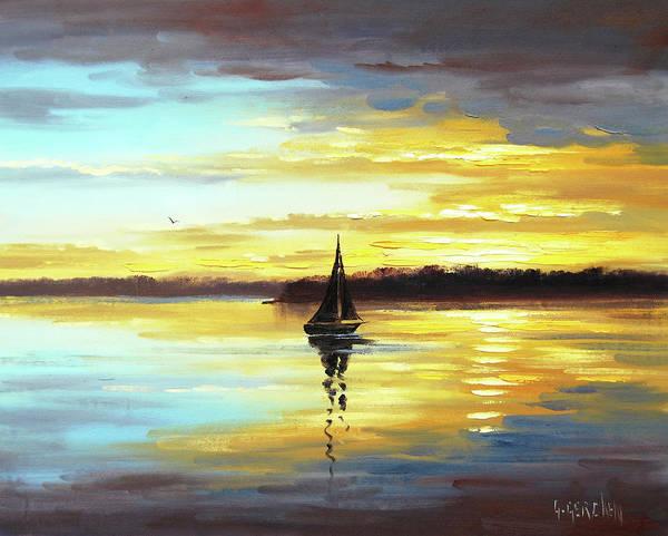 Sailboat Sunset Wall Art - Painting - Golden Sunset by Graham Gercken