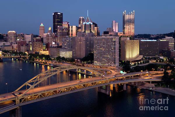 Wall Art - Photograph - Golden Sunset Of The Pittsburgh Skyline by Bill Cobb