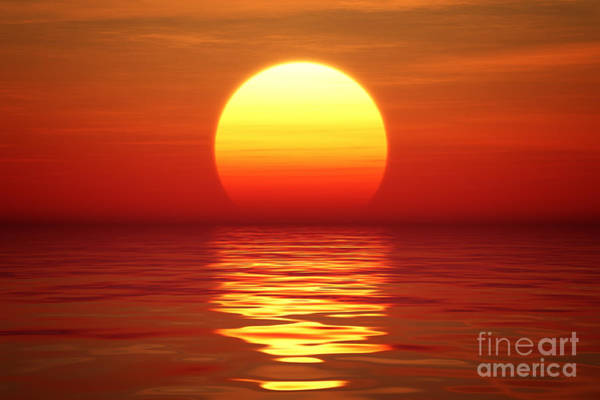 Wall Art - Digital Art - Golden Sunset Over Calm Water Digital by Johan Swanepoel