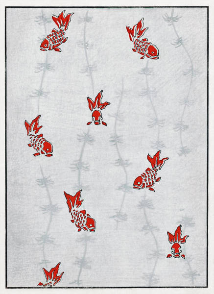 Wall Art - Painting - Goldfish And Aquatic Plant - Japanese Traditional Pattern Design by Watanabe Seitei