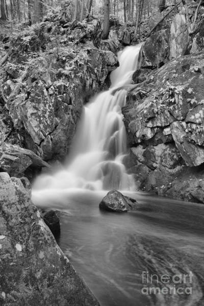 Photograph - Goldmine Brook Falls Cascades Black And White by Adam Jewell