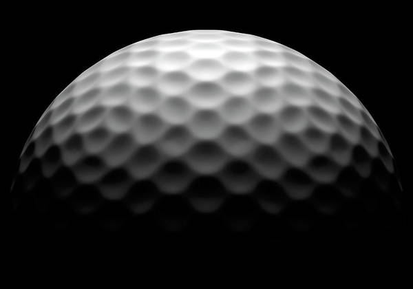 Ball Photograph - Golf Ball On Black Background, Close-up by Ian Mckinnell