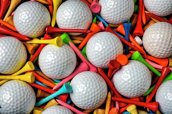 Wall Art - Photograph - Golf Balls And Colorful Tees by Garry Gay