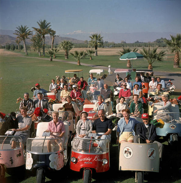 Vertical Photograph - Golf Carts At Thunderbird Golf Club by Loomis Dean