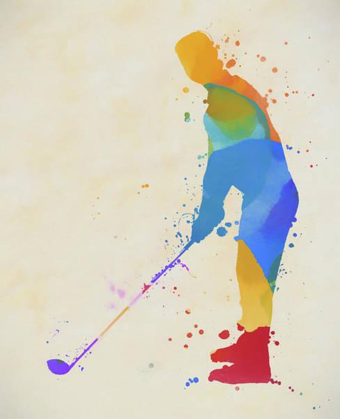Wall Art - Painting - Golfer Paint Splatter by Dan Sproul