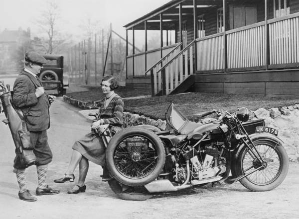 Headwear Photograph - Golfers With A 1939 Ajs And Sidecar by Heritage Images