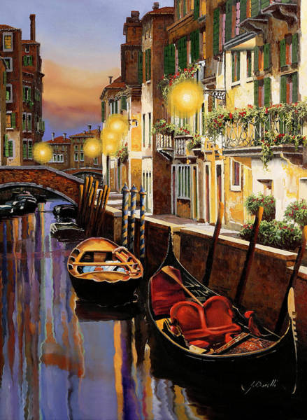 Wall Art - Painting - Gondola Al Crepuscolo by Guido Borelli