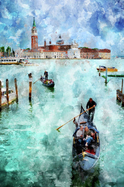 Digital Art - Gondola Rides And San Giorgio Di Maggiore In Venice, Italy - Watercolor Effect by Fine Art Photography Prints By Eduardo Accorinti