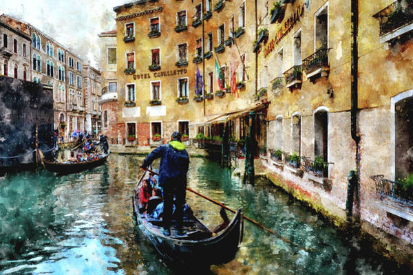 Digital Art - Gondola Traffic Near Piazza San Marco In Venice, Italy - Watercolor Effect by Fine Art Photography Prints By Eduardo Accorinti