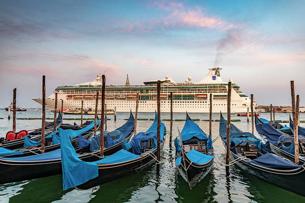 Wall Art - Photograph - Gondolas And Cruise-ship  by Svetlana Sewell