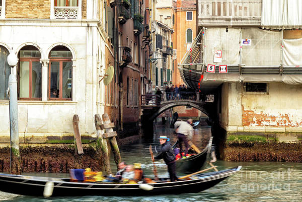 Photograph - Gondolas Between The Buildings In Venice by John Rizzuto