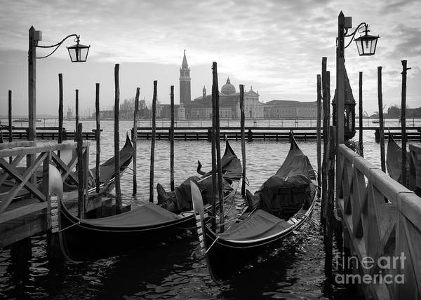 Wall Art - Photograph - Gondolas In Venice, Black And White by Vesilvio