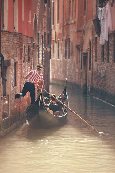Pasquale Photograph - Gondolier Riding Gondola In Venice by Nico De Pasquale Photography