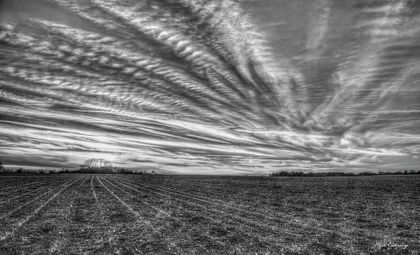 Photograph - Gone With The Wind Sunset B W Oconee County Georgia  Landscape Farming Art by Reid Callaway
