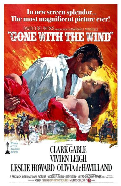 Lagoon Digital Art - Gone With The Wind Vintage Movie Poster by Filip Hellman