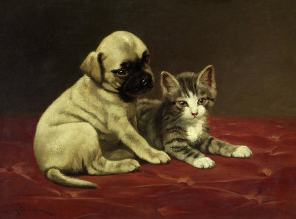 Wall Art - Painting - Good Friends, Puppy And Kitten by John Henry Dolph