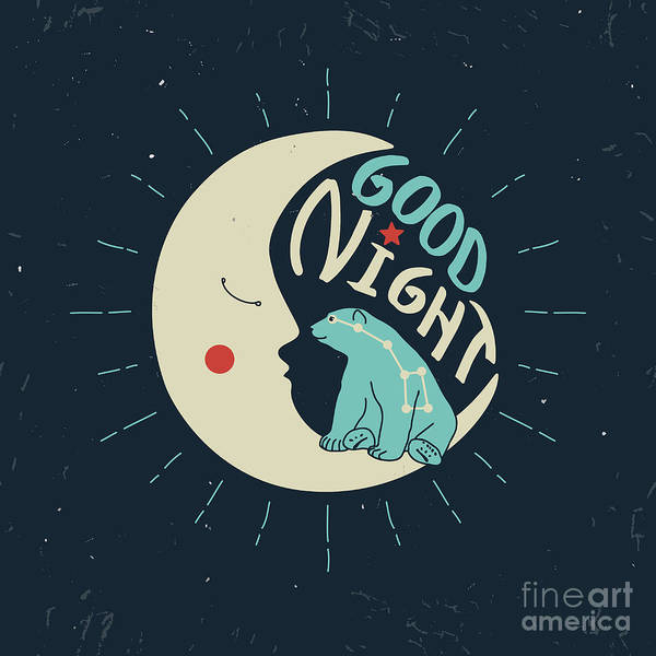 Good Night Polar Bear With Ursa Major Art Print