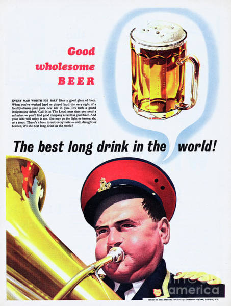 Lager Photograph - Good Wholesome Beer by Picture Post