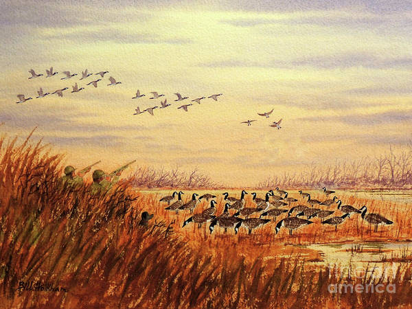 Wall Art - Painting - Goose Hunting Companions by Bill Holkham