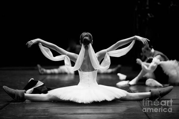 Exercising Photograph - Gorgeous Ballerina Repeating Movements by Anna Jurkovska