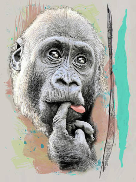 Wall Art - Mixed Media - Gorilla Thinking Pop Art Poster by Kim Wang