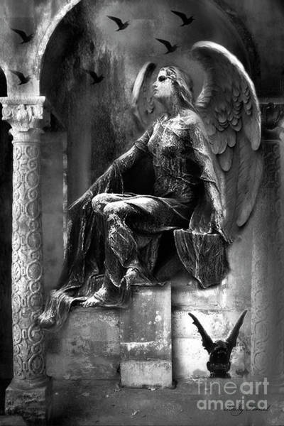 Wall Art - Photograph - Gothic Dark Angel With Gargoyle Ravens Black And White Photography - Gothic Paris Cemetery Angel by Kathy Fornal