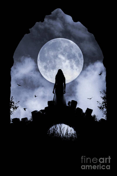 Photograph - Gothic Woman On Bridge And Full Moon by Clayton Bastiani