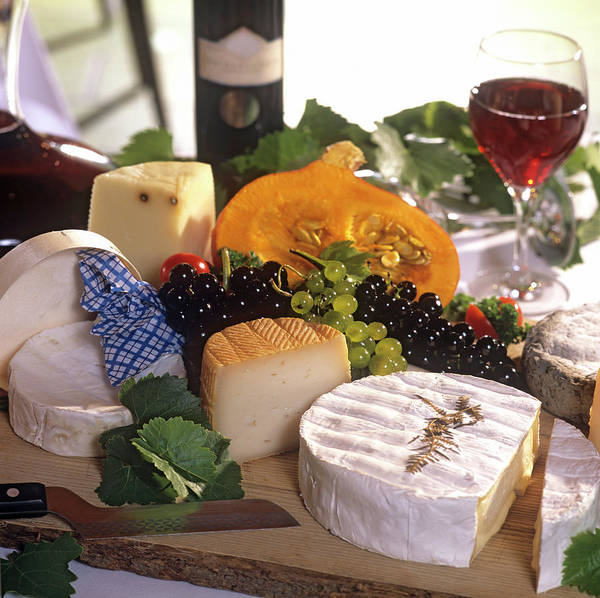 Wall Art - Photograph - Gourmet Cheese Plate With Red Wine by Clu