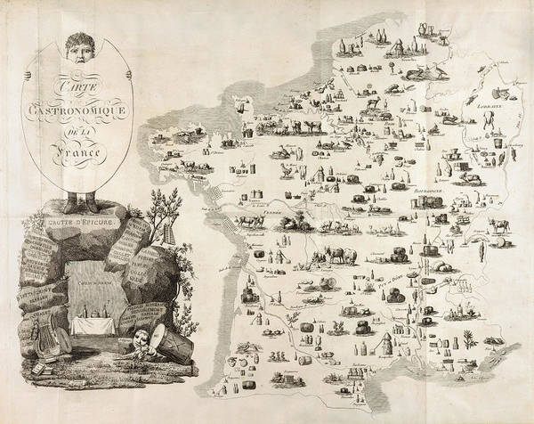Wall Art - Photograph - Gourmet Map Of France 1809 by Daniel Hagerman