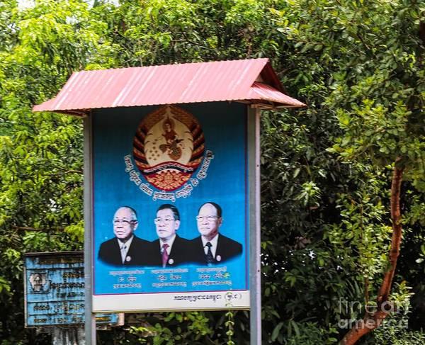 Wall Art - Photograph - Government Sign Cambodia Pres by Chuck Kuhn