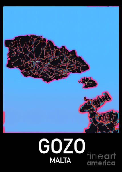 Digital Art - Gozo Map by Helge